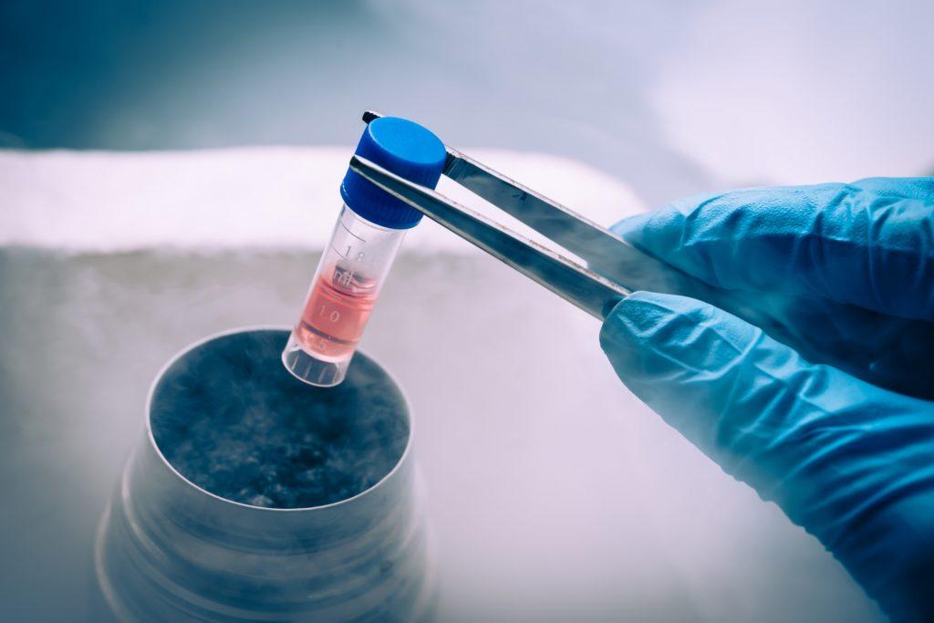 Liquid Nitrogen bank containing suspension of cells.
